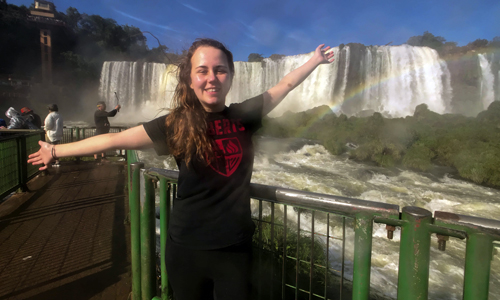 Colleen Denny at Iguazu Falls in Brazil