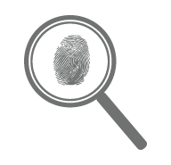 magnifying glass and thumbprint